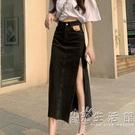 高腰側開叉牛仔半身裙女夏季2021新款顯瘦a字辣妹包臀長裙子薄款 小時光生活館
