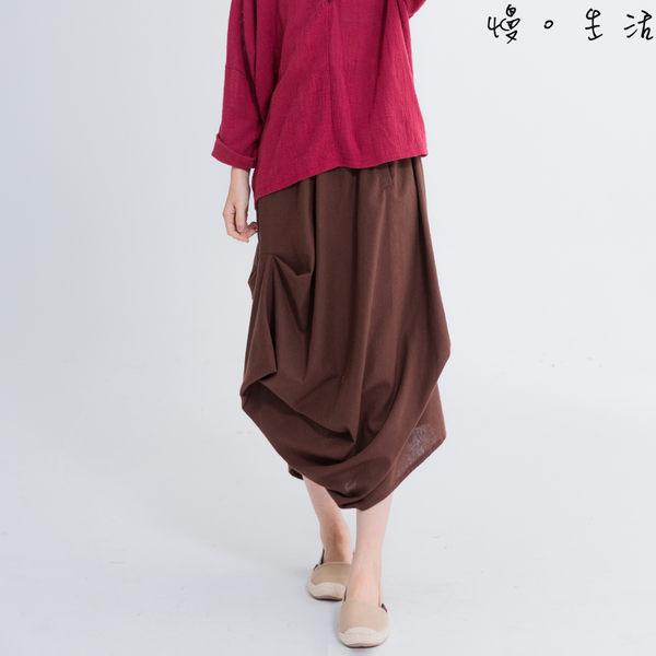 不規則造型棉麻一步裙(咖啡)-F【慢。生活】