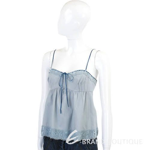 MOSCHINO 水藍色蕾絲滾邊細肩帶背心 0520826-23