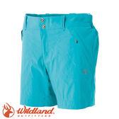 【Wildland 荒野 女彈性抗UV短褲《湖水藍》】51381/UPF30+/雙向彈性/休閒褲★滿額送