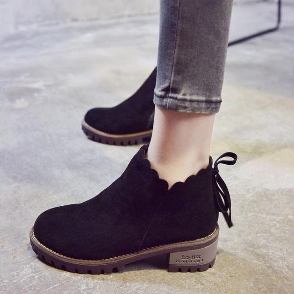 2018秋新款馬丁靴英倫學生韓版中跟粗跟靴子短靴女鞋冬季加絨棉靴