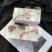 網紅街拍錬條墨鏡女2019新款韓版潮防紫外線抖音款太陽眼鏡平光鏡 滿天星