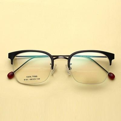 鏡框(半框)-文藝復古韓版時尚男女平光眼鏡5色73oe53[巴黎精品]