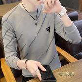秋季衣服男裝小衫長袖T恤韓版潮流學生上衣寬鬆圓領男士衛衣薄款「時尚彩虹屋」