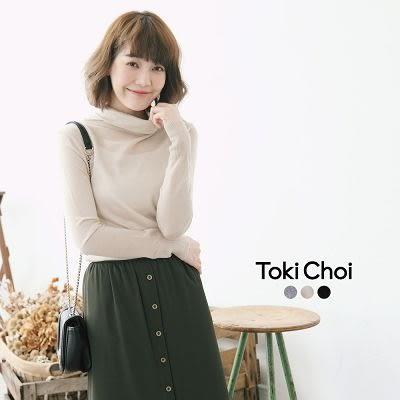 東京著衣-純色反褶高領針織上衣-S.M(6021567)