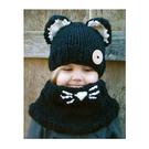 毛帽 萌卡通可愛貓咪披肩針織毛線帽【YJM-A147】 BOBI