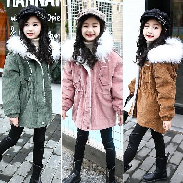 女孩連帽繡花夾棉女童外套羽絨服 女兒童裝中大女童潮流棉服外套 韓加厚保暖秋冬洋氣加絨夾克