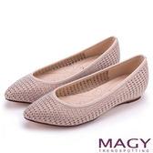 MAGY 低調時尚 閃耀打洞簍空尖頭平底鞋-粉色