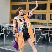 網紅款開衫風衣外套秋季實拍歐美風寬鬆潮流印花chic中長款休閒時尚外套N818-231