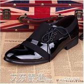 英倫潮流發型師潮鞋婚鞋男士布面休閒鞋子尖頭小皮鞋黑色 艾莎嚴選