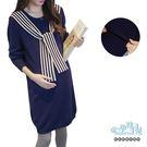 現+預 海軍風領結領口袖口滾邊孕婦哺乳(橫拉式)上衣 藍【CRH209502】孕味十足。孕婦裝