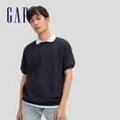Gap男裝 碳素軟磨系列法式圈織 舒適短袖休閒上衣 888930-海軍藍