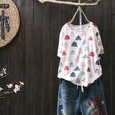 黑五好物節 夏季新款文藝小清新印花棉麻短袖T恤女寬鬆套頭打底上衣 森活雜貨