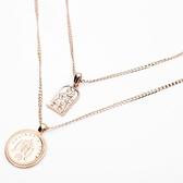 合金項鍊(兩件套)-復古金色吊墜女鎖骨鍊73uz25[時尚巴黎]