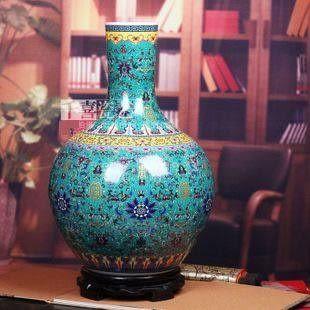 景德鎮陶瓷器藍色太陽花天球粉彩大花瓶