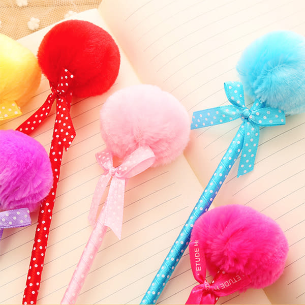 【BlueCat】水玉波點公主圓毛毛球蝴蝶結原子筆