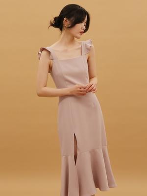 三色可選新款連衣裙荷葉邊吊帶修身顯瘦魚尾開叉中長裙伴娘裙甜美優雅赫本風2021禮服洋裝
