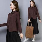 秋冬季 女裝翻領 范寬鬆長袖 棉麻上衣 休閒格子襯衫潮