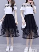 洋裝套裝 2021夏季女裝新款小個子洋氣兩件套夏天套裝雪紡網紗半身連身裙子【618 購物】