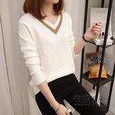 年春季新款純色V領針織衫韓版鏤空毛衣女薄寬鬆大碼長袖上衣 雙十二全館免運