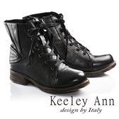 ★2016秋冬★Keeley Ann率性不羈簡約素面質感牛皮綁帶靴(黑) -Ann系列