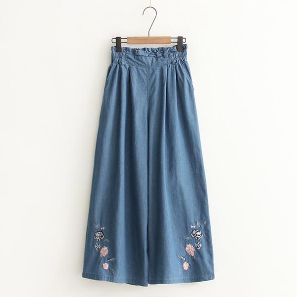 *ORead*玫瑰刺繡鬆緊腰闊腿牛仔褲(2色M~L)