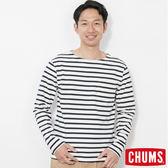 CHUMS 日本 男 條紋長袖T恤 白/深藍 CH011209W011