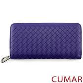 【CUMAR女包】編織羊皮拉鍊長夾-紫