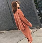 EASON SHOP(GU3886)針織套裝前短後長圓領長袖毛衣裙女上衣服素色秋冬裝韓長版兩件套包臀斜垮肩大擺