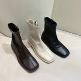 短靴馬丁靴女英倫風瘦瘦鞋網紅彈力瘦瘦靴復古白色短靴春秋單靴潮INS 阿卡娜
