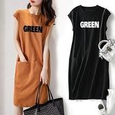 連身裙 夏季新款短袖女裝流行款寬鬆顯瘦字母無袖T恤連身裙中長款仙女裙 嬡孕哺