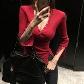 2019新款性感女裝V領針織T恤修身打底衫夜店女上衣緊身顯瘦內搭冬洛麗的雜貨鋪
