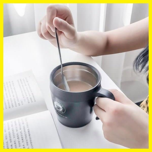 韓版創意辦公室水杯不銹鋼茶杯情侶馬克杯帶蓋勺咖啡杯女保溫杯子 艾尚旗艦店