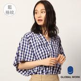 GLOBAL WORK女點點格紋格子V領立領落肩矩形寬袖短袖上衣襯衫-四色
