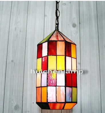 設計師美術精品館歐式酒店別墅樓梯長吊燈單頭藝術玻璃餐廳吧台燈個性蒂凡尼客廳燈