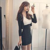 時尚套裝裙2018新品女裝春裝潮性感長袖外套顯瘦兩件套洋裝 【快速出貨八五折鉅惠】