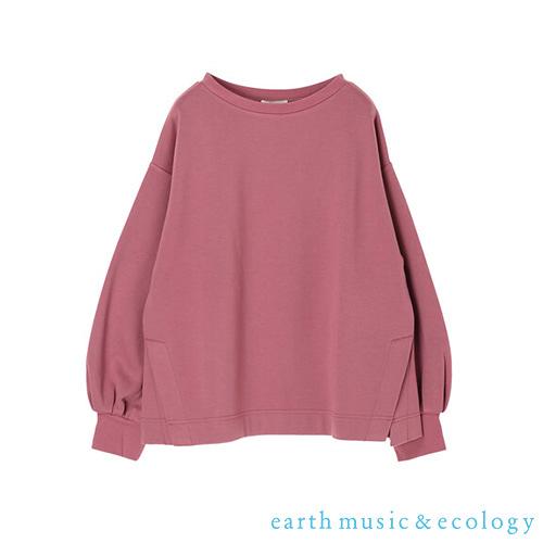 「Hot item」素面蓬袖圓領落肩長袖T恤 - earth music&ecology