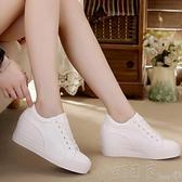增高鞋 小白鞋女秋季黑白色軟皮面韓版厚底內增高休閒帆布鞋女鞋XTHQ28 【快速出貨】