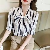 涼感上衣 短袖襯衫S-2XL印花真絲襯衫女士五分短袖夏高端大牌杭州桑蠶絲上衣T614快時尚
