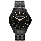 A|X Armani Exchange 極簡雅仕時尚主義腕錶-黑x金刻