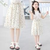 女童短裙 夏裝裙子2021夏季新款兒童裝夏天洋氣短裙中大童碎花半身裙【快速出貨】