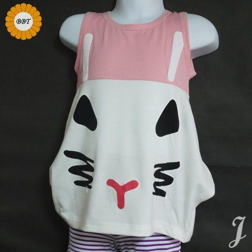 ☆棒棒糖童裝☆夏女童兔臉上衣 長版衣 尺碼5-15