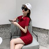 顯胸修身洋裝氣質女神范POLO 連身裙短袖收腰顯瘦修身性感不規則緊身包臀裙NE215D 紅