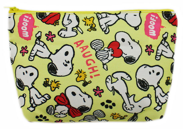 【卡漫城】 Snoopy 黃 化妝包 ㊣版 筆袋 萬用包 收納袋 史努比 史奴比 糊塗塔克 無內袋 台灣製