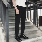 西裝褲小西褲男夏季薄款九分褲韓版修身顯瘦黑色褲子男士時尚休閒西裝褲 寶貝計書