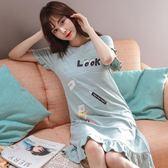 睡裙女夏短袖韓版寬鬆中長裙甜美可愛清新學生全棉睡衣女夏天