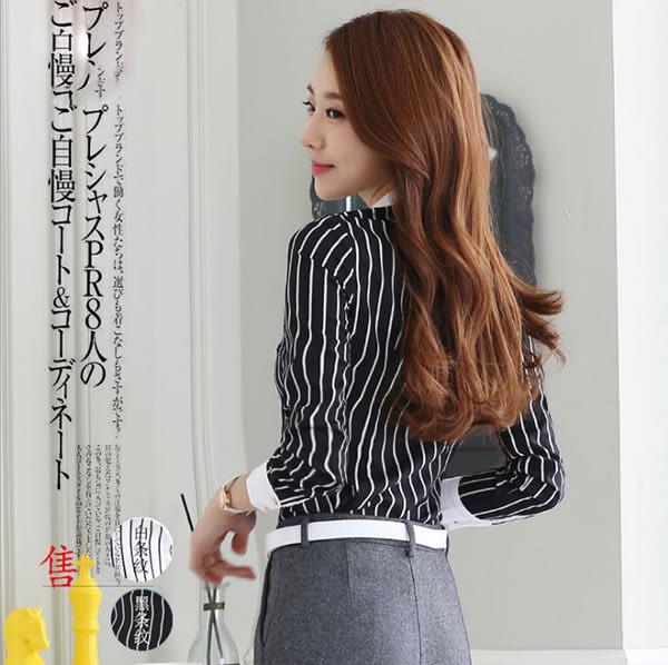 OL長袖襯衫女~*艾美天后*~韓版時尚辦公白襯衫修身工作襯衫