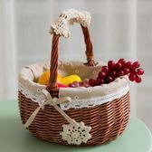 野餐籃水果籃藤編購物收納籃編織小籃子手提【步行者戶外生活館】