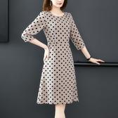 洋裝 優雅氣質休閒時尚法式復古波點收腰修身中袖連身裙 降價兩天
