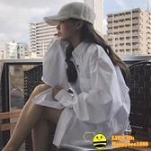 白色襯衫女寬鬆設計感小眾復古港味襯衣外套【happybee】